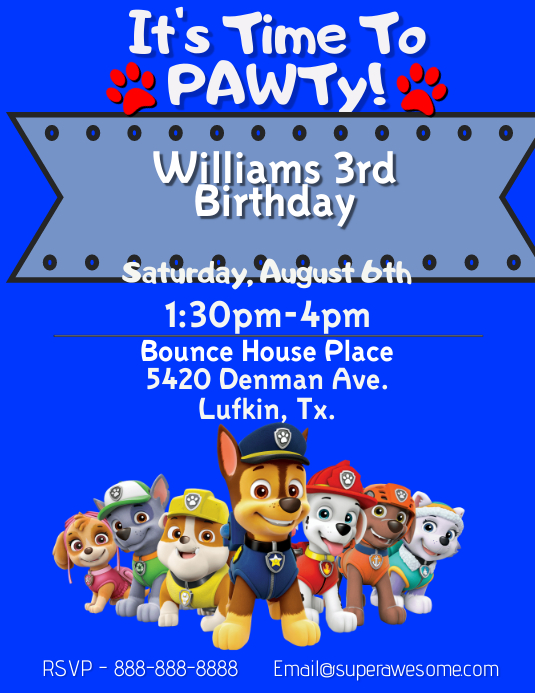 Paw Patrol Birthday Party Template Postermywall