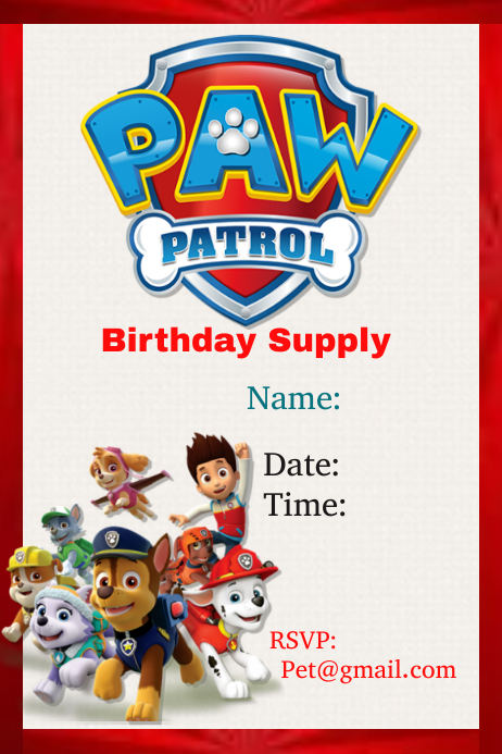 Paw Patrol Template Postermywall