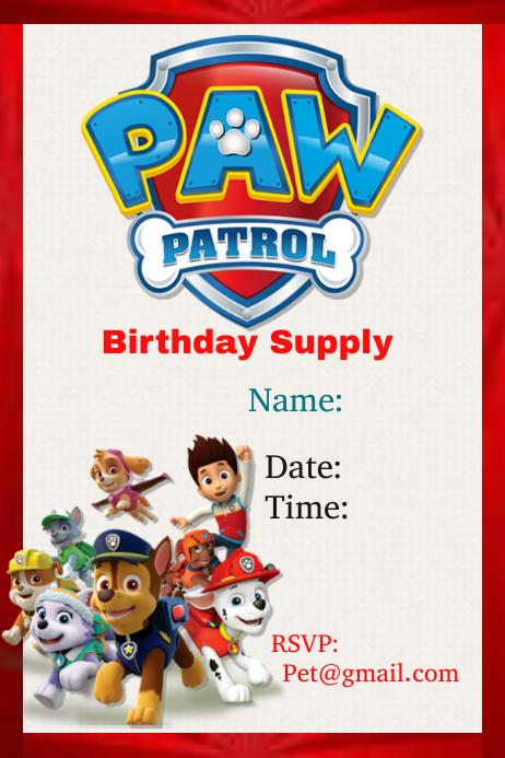 шаблон Paw Patrol Postermywall