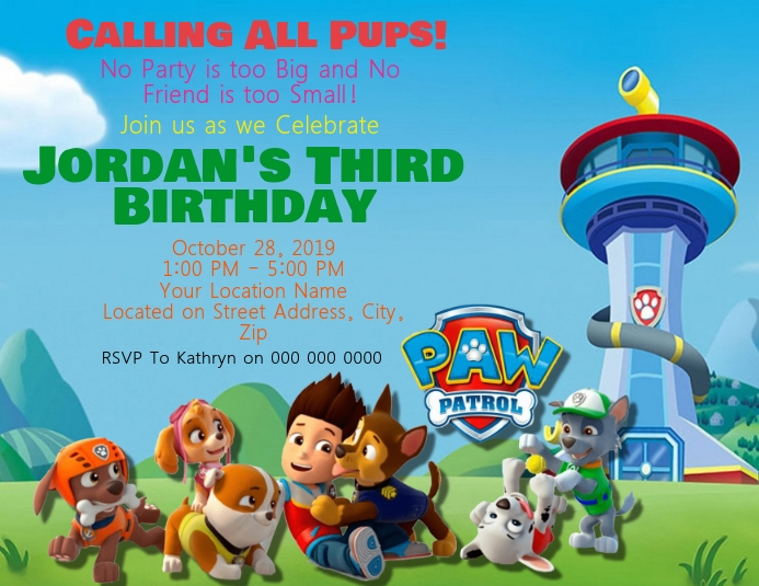 Paw Patrol Kids Birthday Invitation Template Flyer (US Letter)