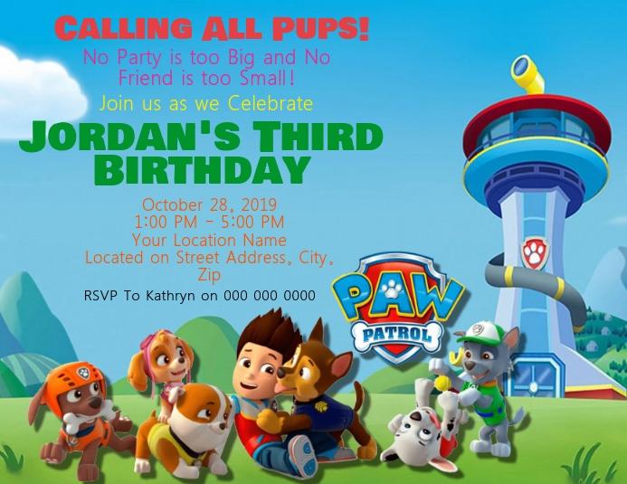 Paw Patrol Kids Birthday Invitation Template Postermywall