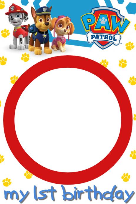 шаблон Paw Patrol Party Frame Postermywall