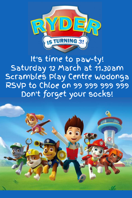 Paw patrol party invitation template postermywall for Printable paw patrol invitations