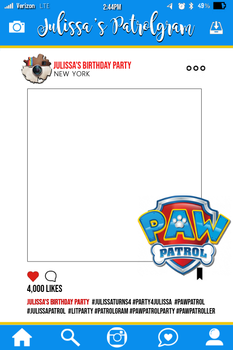 paw patrol party prop frame template postermywall