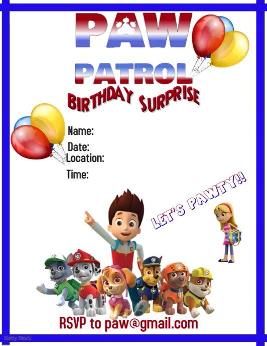 шаблон Paw Patrol Party Video Flyer Postermywall