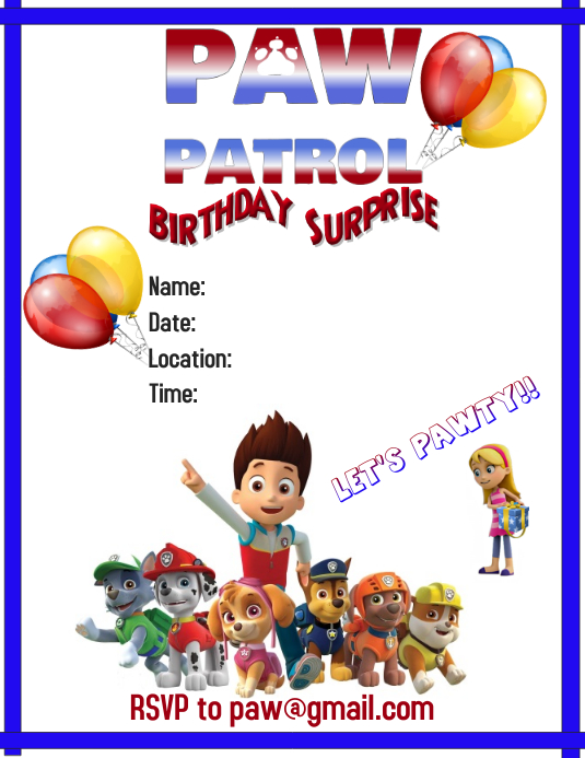 Paw Patrol Pawty Template Postermywall
