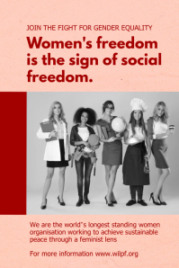 Peach and red women's rights poster template