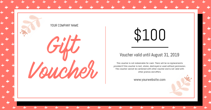 Peach and White Gift Voucher Image partagée Facebook template