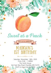 Peach birthday party invitation