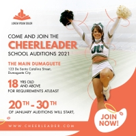 Peach Cheerleader Jumping Tryouts Instagram T template