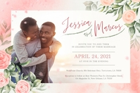 Peach Floral African American Wedding Poster Póster template