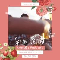 Peach Floral Spring Festival Square Video