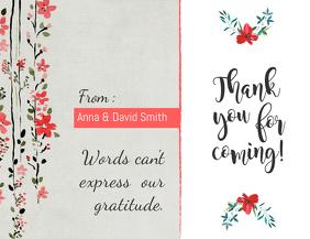 Peach Floral Thankyou Card Template