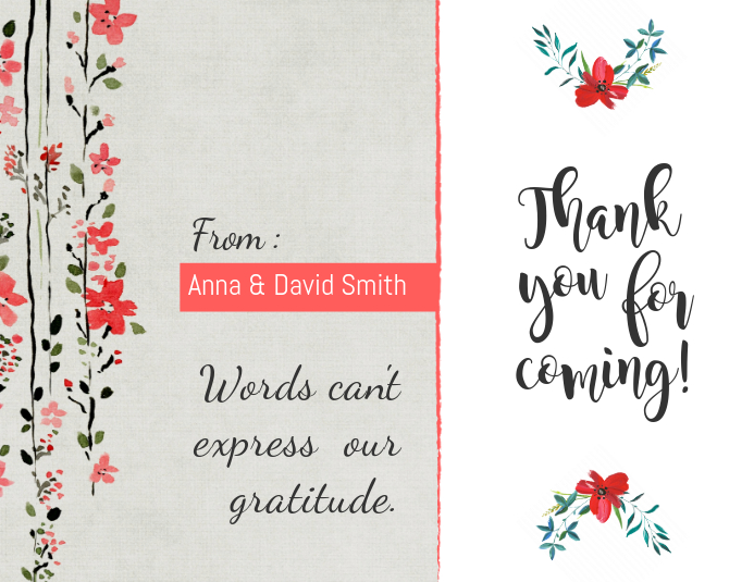 Peach Floral Thankyou Card Template Folheto (US Letter)