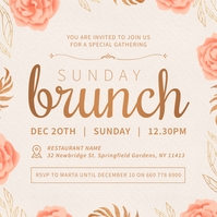 Peach Ladies Brunch Instagram Invitation Wpis na Instagrama template