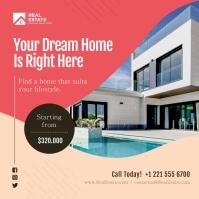 Peach Real Estate Instagram Image template