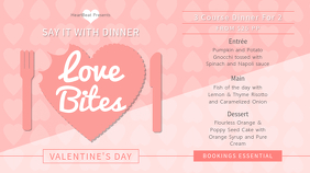 Peach Valentine Dinner Digital Display Image