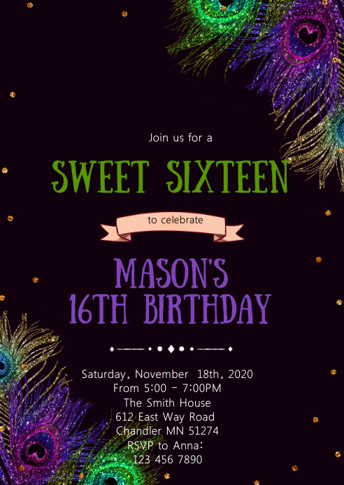 Peacock 16th birthday party invitation