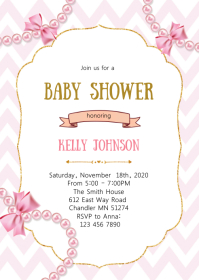 Pearl and diamond baby shower invitation A6 template
