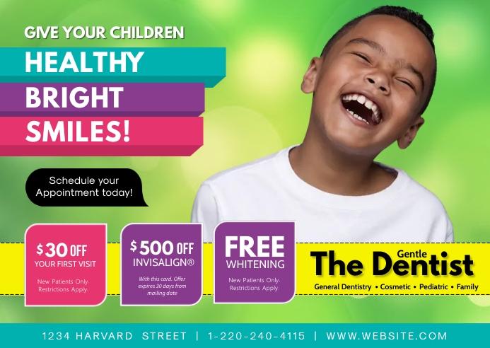 Pediatric Dental Smile 明信片 template