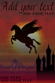 pegasus horse flying over a mideval fairytale castle