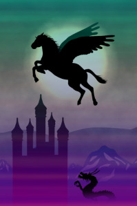 pegasus horse flying over dragon and fairytale castle