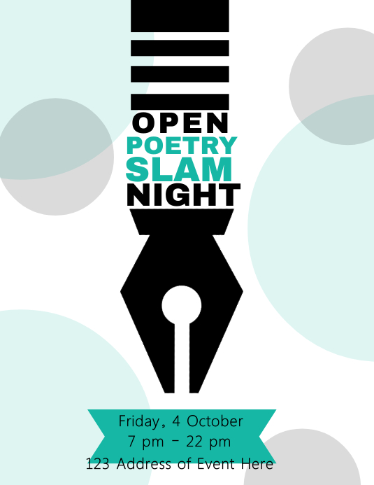 Pen / Poetry Night Flyer Template Løbeseddel (US Letter)