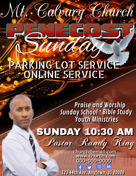 Penecost Sunday Flyer (Letter pang-US) template