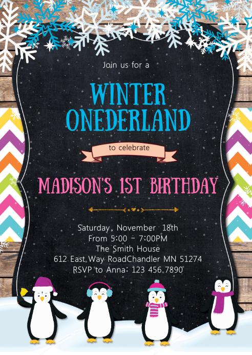 Penguin birthday invitation