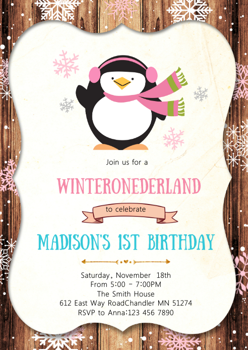 Penguin Birthday Party Invitation Template Postermywall