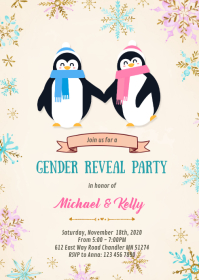 Penguin gender reveal invitation