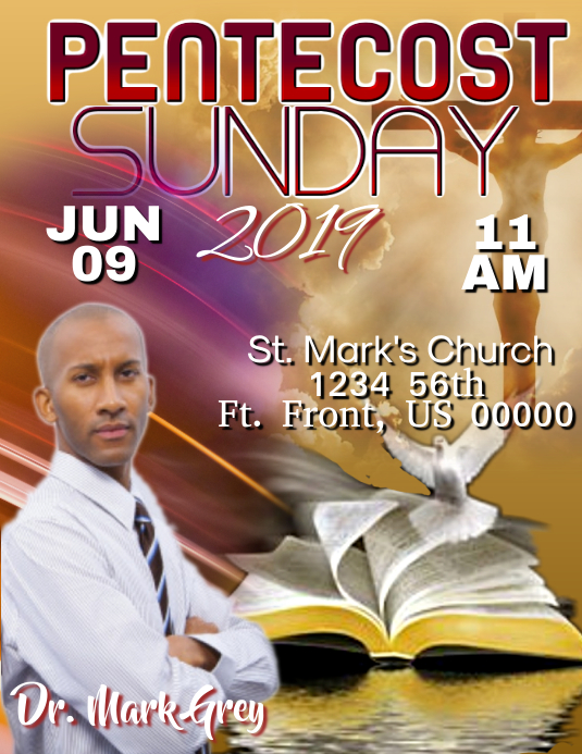 Pentecost Sunday 2019 Flyer (US-Letter) template