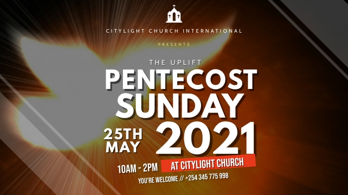 pentecost sunday church flyer Tampilan Digital (16:9) template