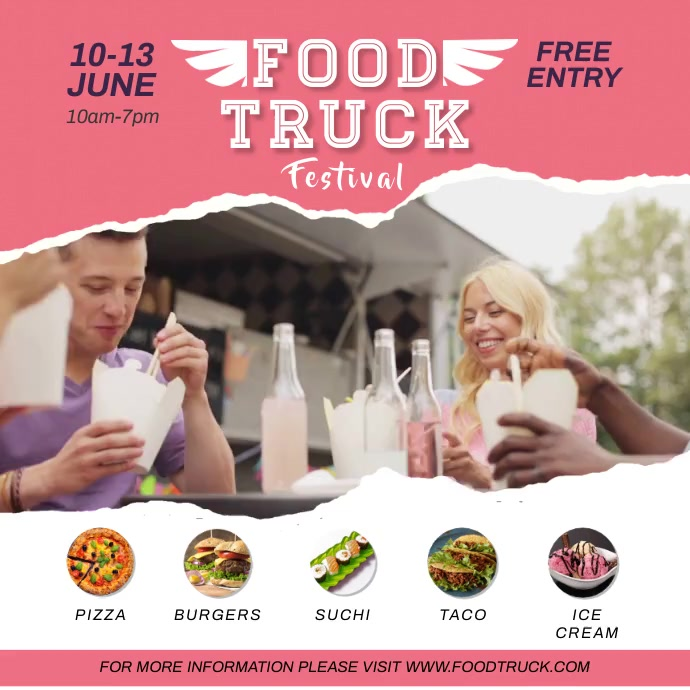 People Eating Pink Food Truck Fest Instagram Carré (1:1) template