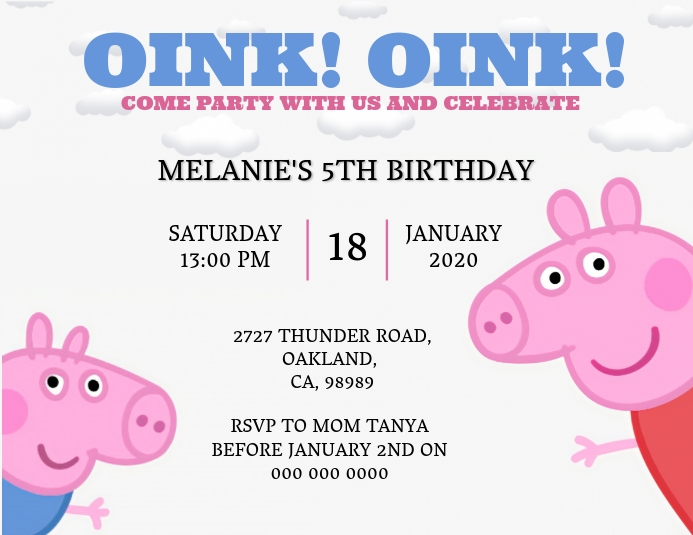 Peppa Pig Birthday invitation Template
