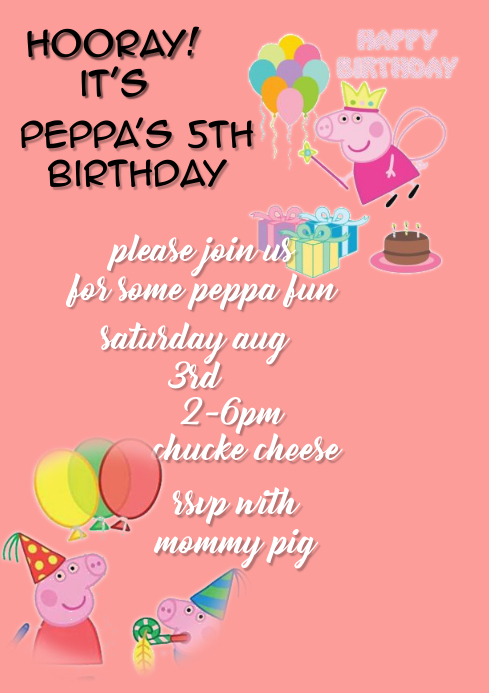 Peppa Pig Birthday Party Invitation Customize Template