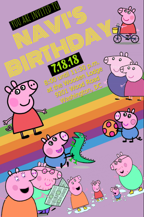 image regarding Peppa Pig Printable Invitations identified as Peppa Pig Invitation Template PosterMyWall