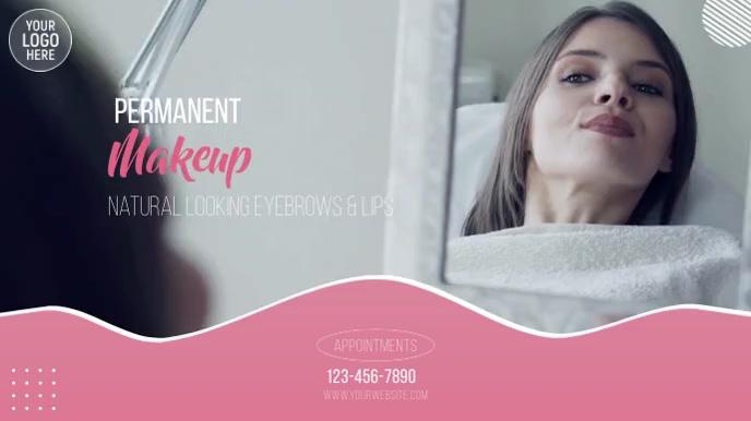 Permanent Makeup Beauty Salon Video Ad งานแสดงผลงานแบบดิจิทัล (16:9) template