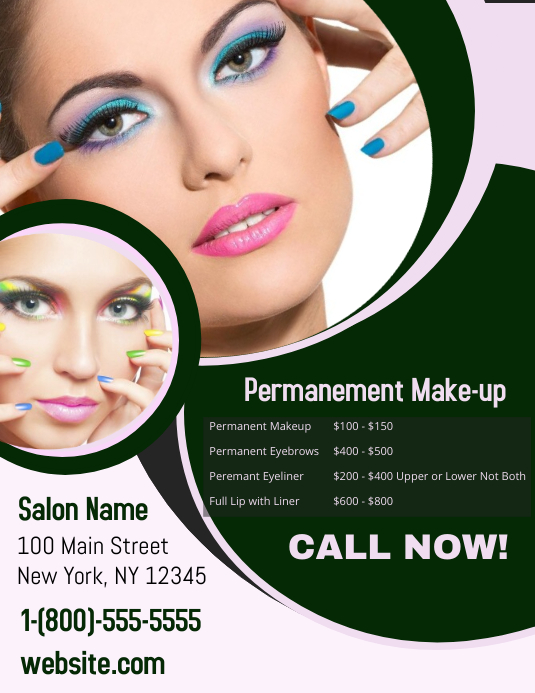 Permanent Makeup ใบปลิว (US Letter) template