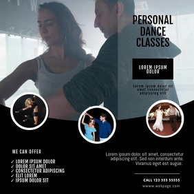 personal Dance Classes Video Ad Template Square (1:1)