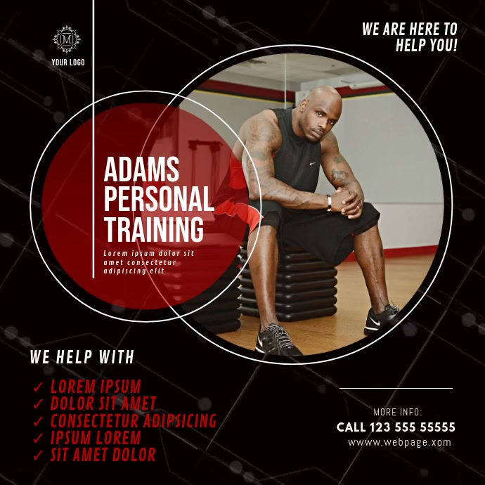 Personal Training Video Ad Template Square (1:1)