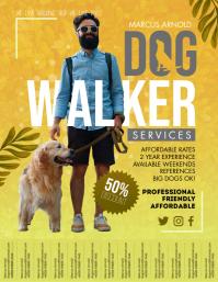 Personalized Dog Walker Service Flyer Design template