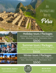 Peru Travel Poster Flyer Template