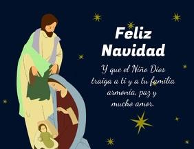 Pesebre de Navidad con Jesus Maria y José Flyer (US Letter) template