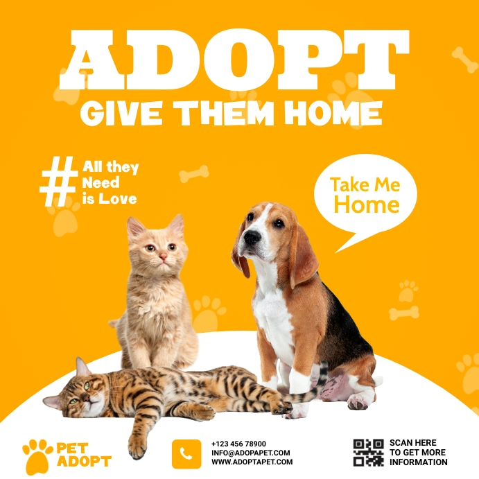 pet adopt Instagram Post template