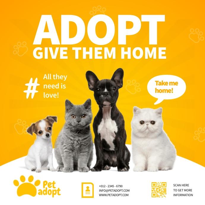 Pet Adoption Ads Square (1:1) template