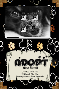 Pet adoption flyer with video QR code by TagMyPrint