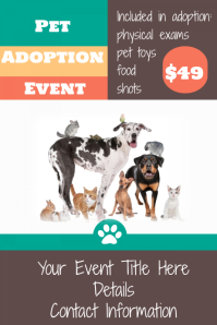 Pet Animal Adoption Event Flyer Pet Store Poster Template  Pet Poster