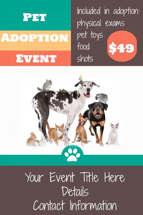 Pet Animal Adoption Event Flyer Pet Store Poster Template