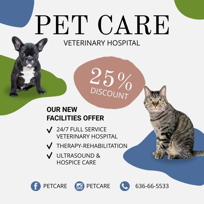 Pet care ads design templete Instagram Post template